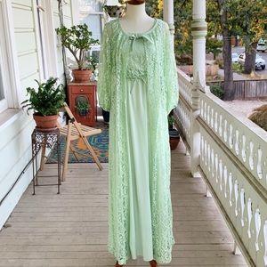 Vintage 70s Seafoam Maxi Dress & Robe Peignoir Set